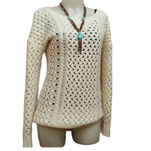 Crochet knitted ivory sweater size small